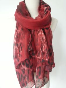 Red Color Printing Leopard Polyester Scarf for Women fashion Accessories pictures & photos