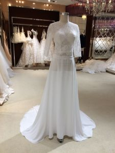 A Line Chiffon Wedding Dresses with Half Sleeves pictures & photos
