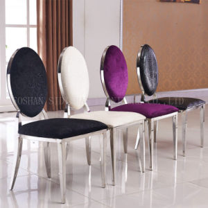 Luxury Design Black PU Leather Round Back Banquet Stainless Steel Dining Chair pictures & photos