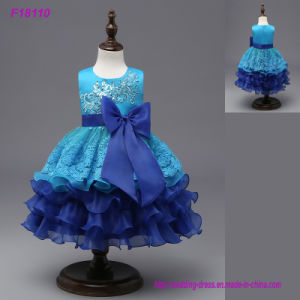 Custom Made Beautiful Blue Flower Girls Dresses for Weddings Pretty Formal Girls Gowns Cute Satin Puffy Tulle Pageant Dress Spring pictures & photos