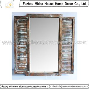 Hand Carved White Decorative Rustic Vintage Wood Frame Mirror (in stock) pictures & photos