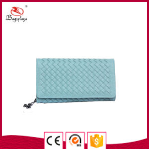 Lladies Popular Fancy Light Blue Weave PU Leather Wallet