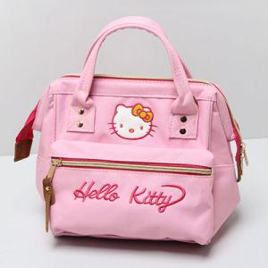 Light Pink Canvas Cute Cat Women Bag (A0114-1)
