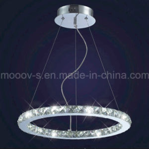 Modern Indoor Decorative Clear Round Eternity Ring Crystal LED Hanging Lamp pictures & photos