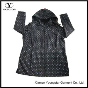 Ys-1067 Printed Black Microfleece Waterproof Breathable Womens Hooded Softshell Jacket pictures & photos