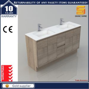 60′′ MDF Melaimine Wood Bathroom Vanity Cabinet with Double Sink pictures & photos