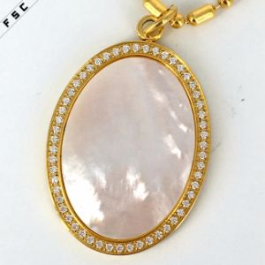 Flat Round Big Stone Crystal Gold Plated Luxury Women Pendant pictures & photos