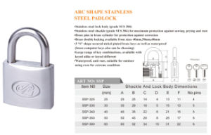 Factory Offer Arc Type Stainless Steel Padlock Key Alike Available pictures & photos