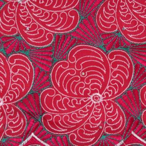 Fushia Pink Color Cotton Textile Voile Lace Fabric pictures & photos