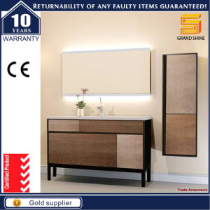 Customized Black Lacquer Wooden Melamine Bathroom Cabinet with Legs pictures & photos