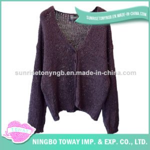 Fashion New Style Cotton Acrylic Knitted Lady Sweater pictures & photos