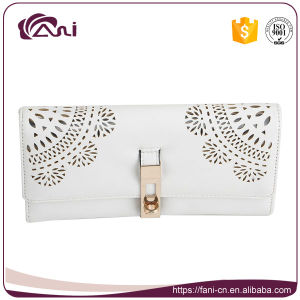 Wholesale Lady Purses with Cheap Price. Lace Design White Long Lady Wallet pictures & photos