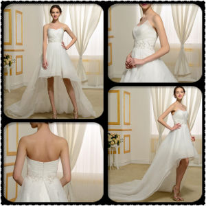 Sweetheart High Low Appliques Sequins Beach Wedding Dress (Dream-100057) pictures & photos