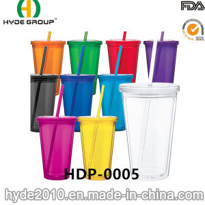 Customized BPA Free Plastic Tumbler with Straw and Lid (HDP-0005) pictures & photos