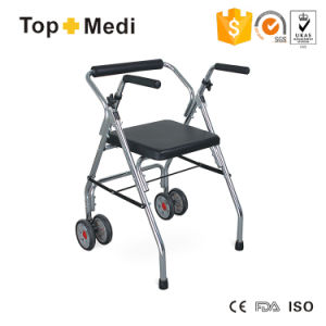 Aluminum Medical Two-Way Walking Aid Walker with Wheels Twa9142L pictures & photos