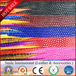 Artificial Leather Embossed Snake Skin Synthetic Leather for Bags pictures & photos