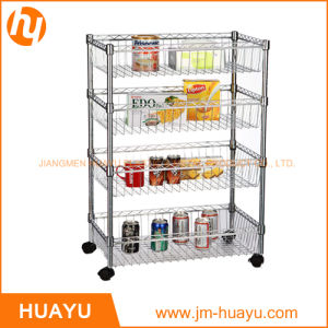 Popular Chrome Steel Display Wire Shelving with Four Layer Basket pictures & photos