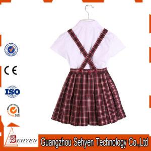 100% Cotton White Cotton Shirt and Scottish Skirt School Uniform pictures & photos