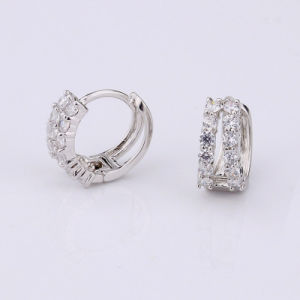 New Fashion Luxury Crystal Double Row Rhinestone Huggie Hoop Earrings pictures & photos