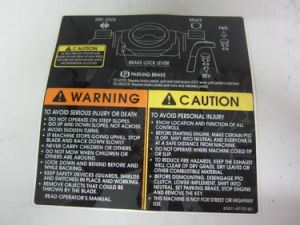 Eco-Friendly UV Printing Caution Labels pictures & photos