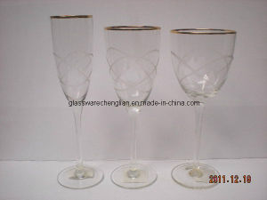 Engraved Hand-Made Great Goblet Glass Cup with Gold Rim (B-735ABC) pictures & photos