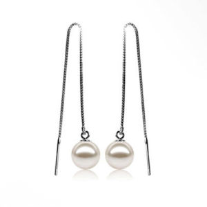 "2.8"" Long Line Round Freshwater Pearl Earrings pictures & photos"