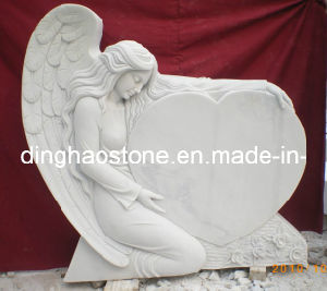 White Heart Style Headstone with Carving Angel (DH-T008)