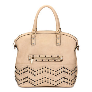 Rhinestone Beige Leather Lady Fashion Handbags (MBNO035068) pictures & photos