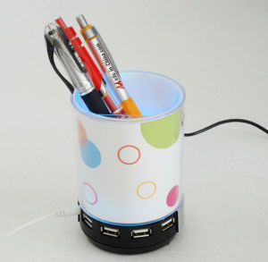 3 in 1 Pen Holder with 4 Ports Hub and Speaker (JH-040) pictures & photos