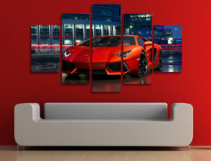 HD Printed Red Luxury Sports Car Painting Canvas Print Room Decor Print Poster Picture Canvas Mc-117 pictures & photos