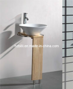 Ceramic Basin Wood Stand Bathroom Vanity