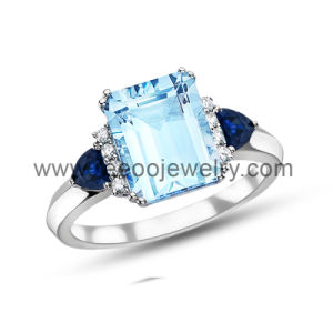 Sterling Silver CZ Crown Set Princess Aquamarine Color Ring
