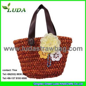 Luda Natural Cornhusk Straw Beach Bag with Flower