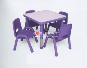 4-Seaters Purple Wood Table with Plastic Chair for Kids (SF-27K)) pictures & photos