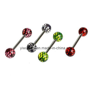 Criss Cross Acrylic Ball Tongue Ring (CY202)
