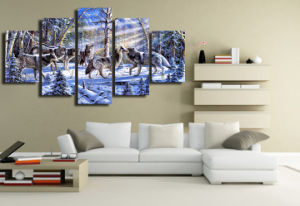 HD Printed The Wolves in The Snow Painting Canvas Print Room Decor Print Poster Picture Canvas Mc-076 pictures & photos