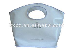 White Non Woven Die Cut Loop Handle Custom Grocery Bag