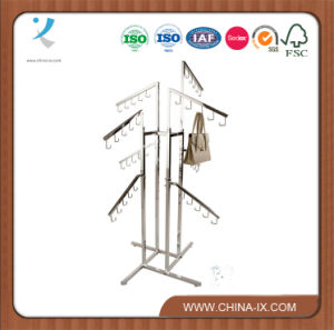 4 Way Handbag Display Rack with 8 Waterfall Arms pictures & photos