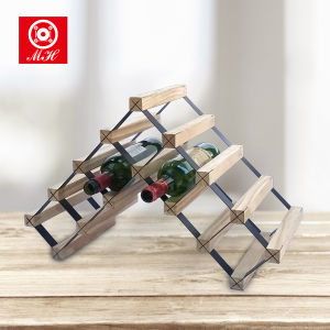 Household 27 Bottles Varnished Pine Wine Racks with Galvanized Steel pictures & photos