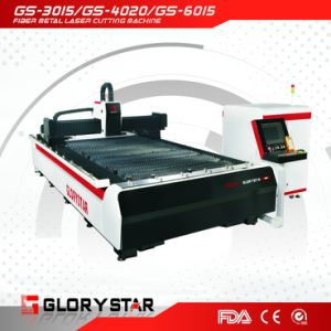 500W Optical Fiber Laser Cutting Machine GS-3015 on Sheet Metal pictures & photos