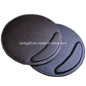 Round Mouse Pad with Wrist Rest Custom Personalized Black/ Brown PU Leather Mouse Pads Wholesale pictures & photos