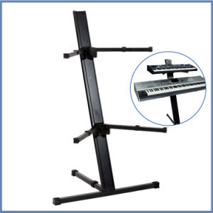 Professional 2 Tier Column Aluminum Keyboard Stand pictures & photos