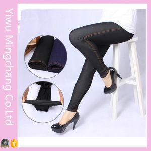 Wholesale Large Size High-Elastic Black Denim Leggings for Fat Women pictures & photos