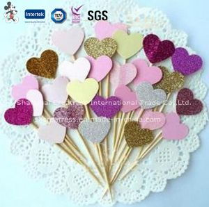 Colorful Heart Shaped Cake Toppers Wedding Cake Decoration pictures & photos