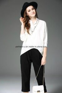 Fashion Pure Color Irregular Fold Polo Shirt Women Wear pictures & photos