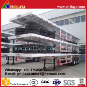 40FT Container Semi Flatbed Trailer, High Bed Truck Trailer pictures & photos