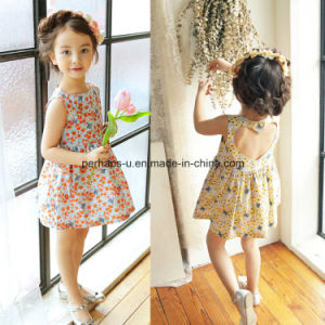 High Quality Printing Flower Girls Dress Sleeveless Children Wear pictures & photos