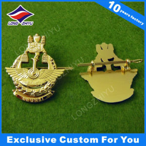 Gold Metal Badge Pin with Building Embossing Color Enamel pictures & photos