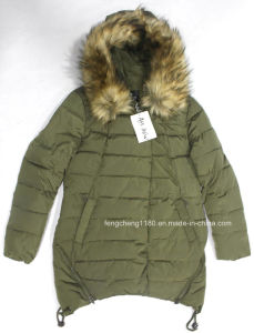 Ladies Winter Fashion Outdoor Jacket with Detachable Fur Hoody