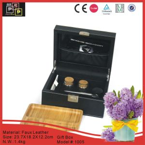 PU Leather Cigar Box with Wood Tray (1005-B) pictures & photos